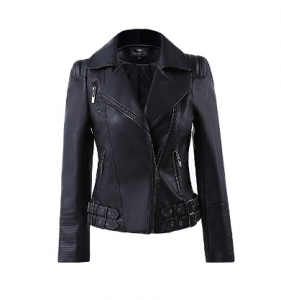 LLF Women's Faux Leather Zip Up Moto Biker Jacket With Many Details